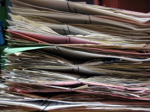 mountain of construction paperwork
