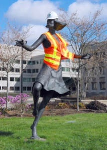 dancing woman in safety vest