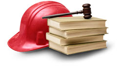 gavel, law books, & hard hat