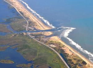 Hurricane Irene road damage on outer banks of NC